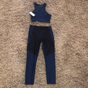 Outdoor Voices navy workout set